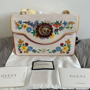 Gucci Ricami Canvas Flora Embroidered shoulder bag